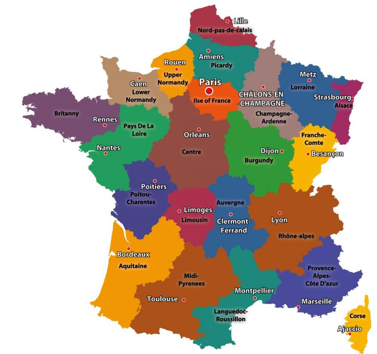 carte de la France et de Paris