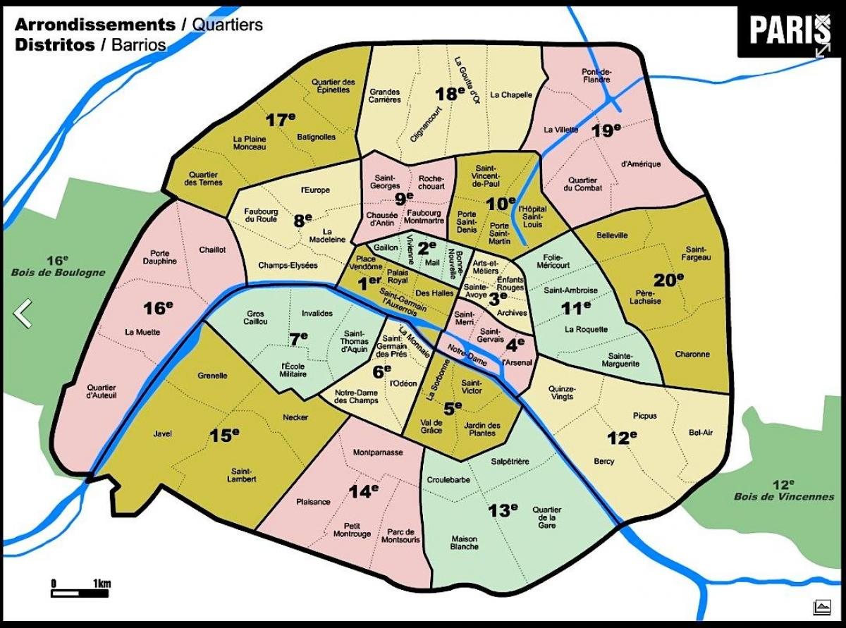 Carte de Paris arrondissement zones
