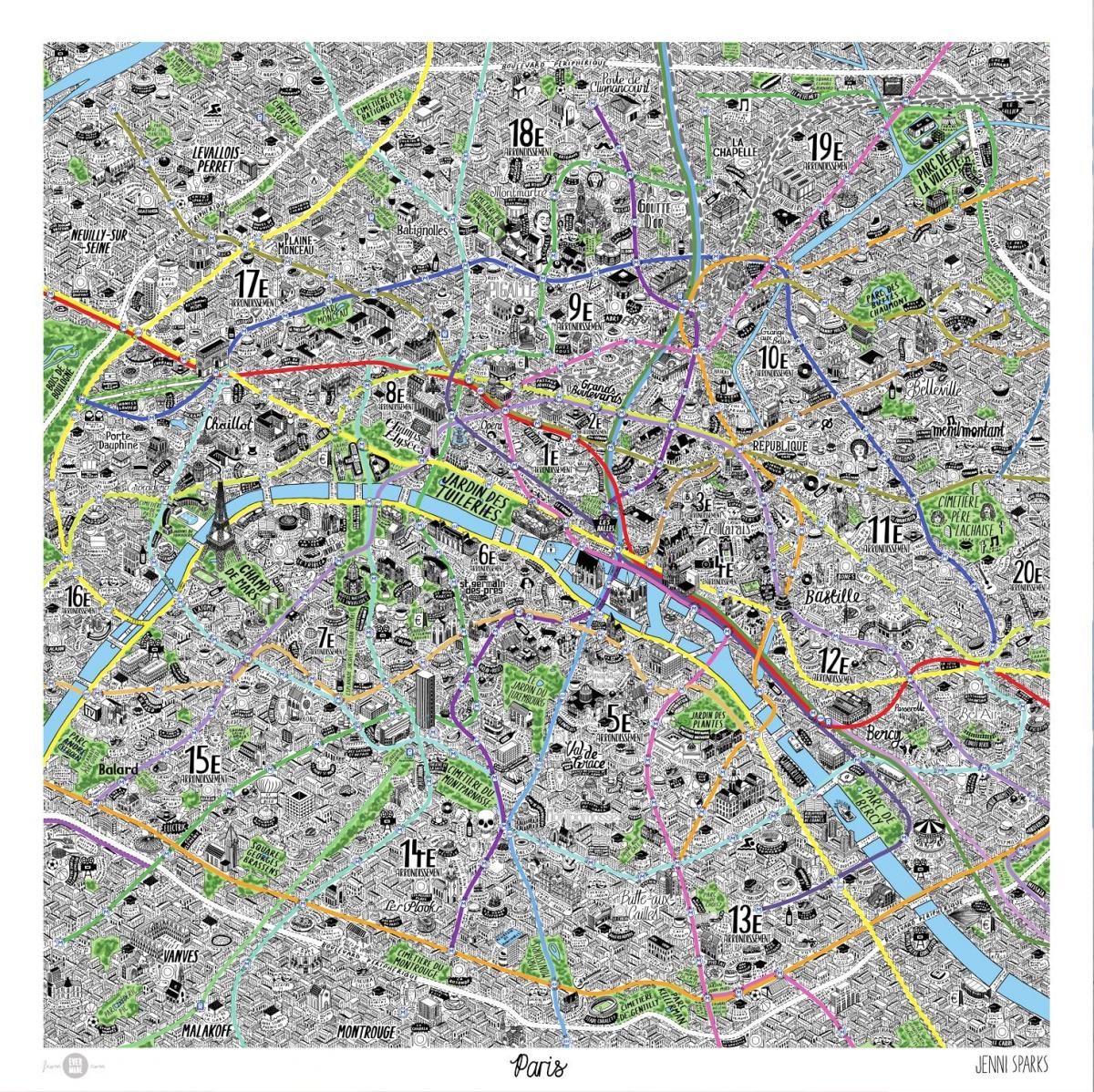 Carte de dessinés à la main à Paris