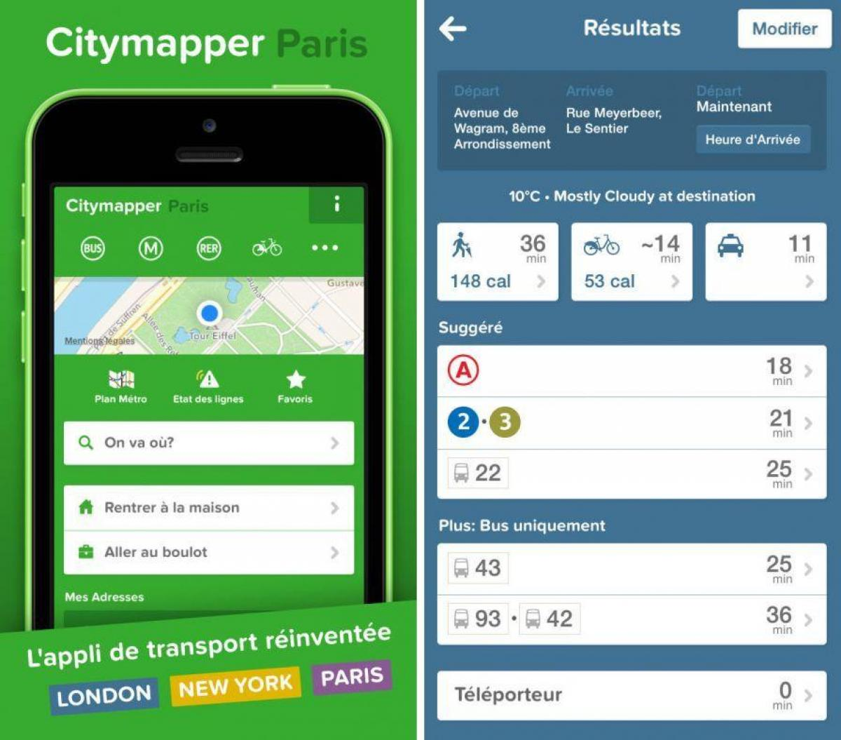 Carte de citymapper Paris