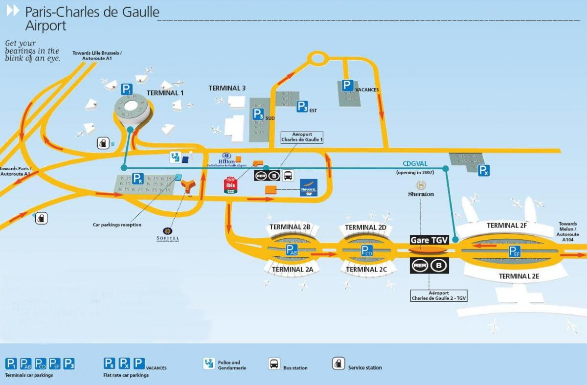 Carte de l'aéroport Paris cdg