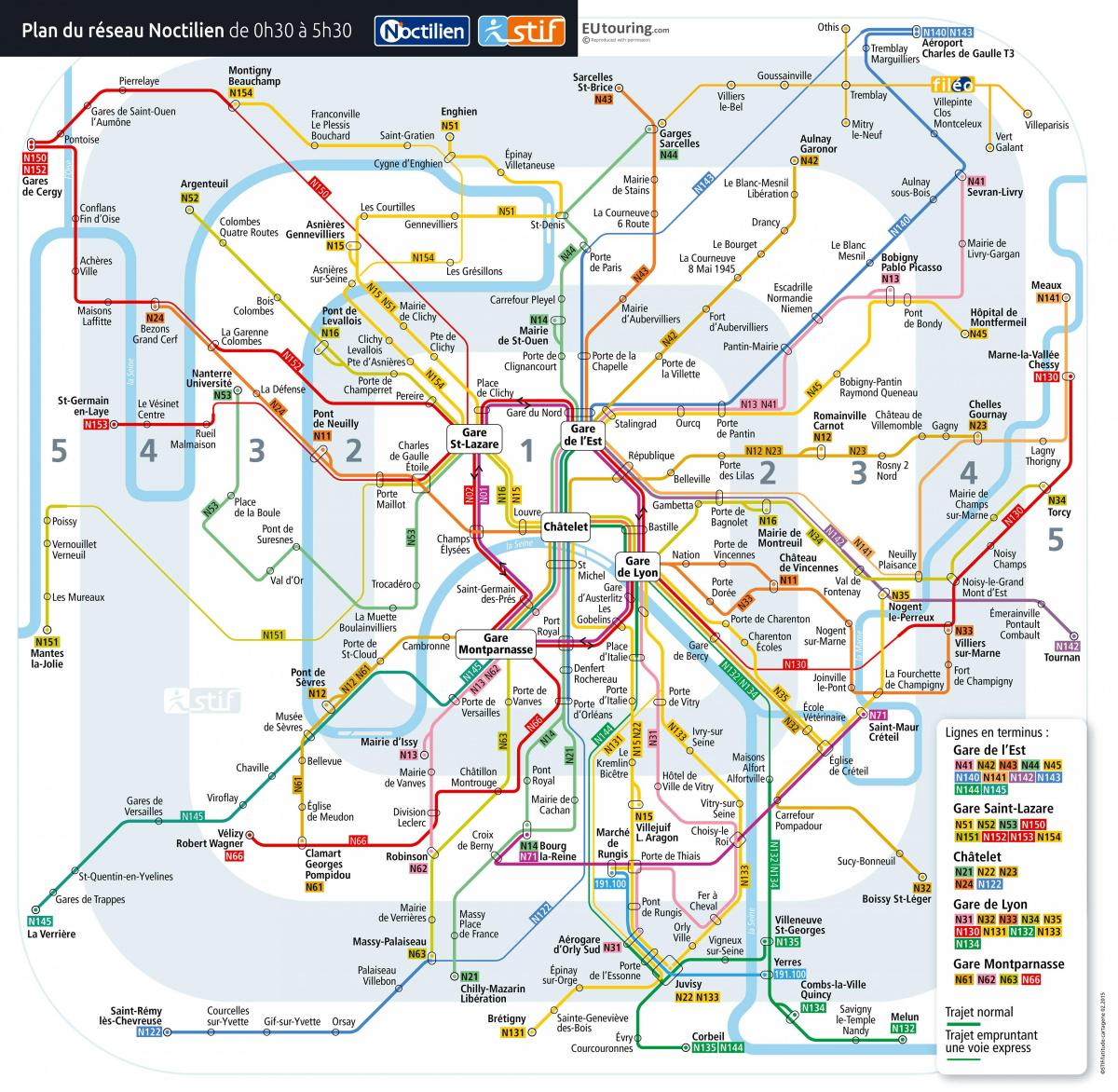 Carte de Paris en bus de nuit