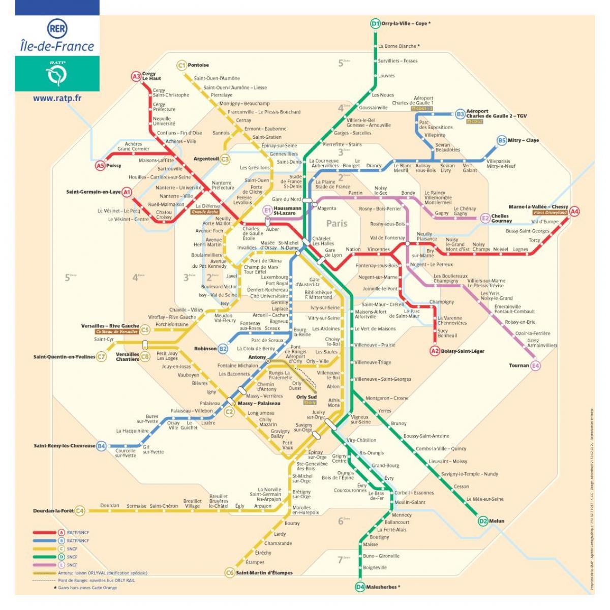 Carte Rer Ile De France.Paris Metro Rer La Carte Rer Et De Metro De La Carte Ile