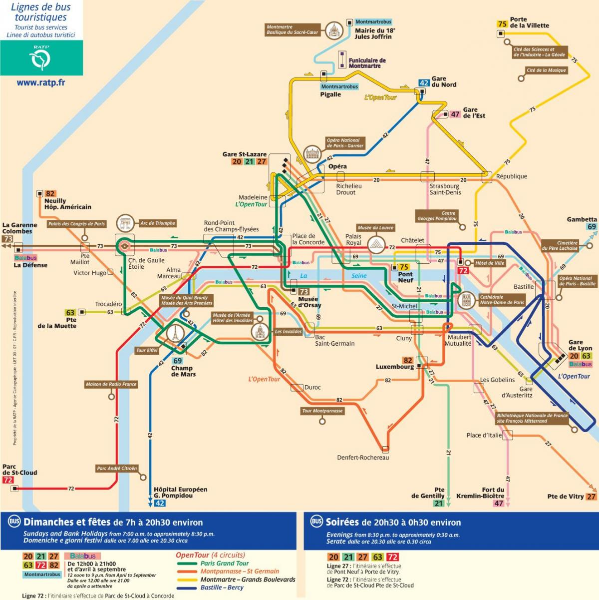 Paris city tour bus carte
