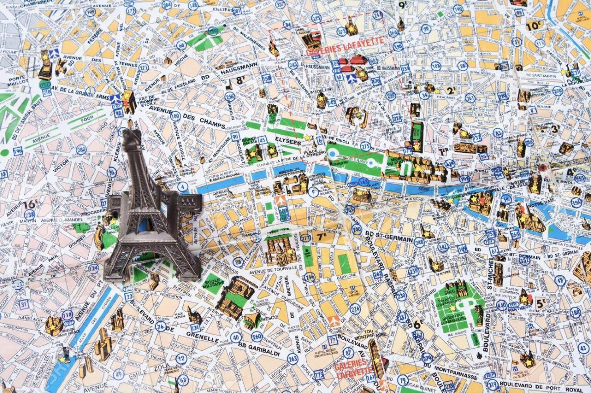 Carte de Paris avec la tour eiffel